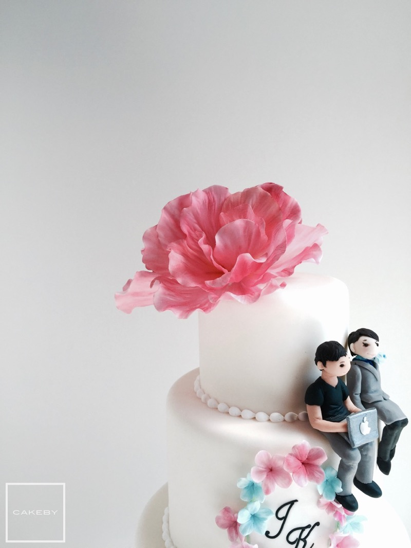 Water Color Aircraft Wedding Cake